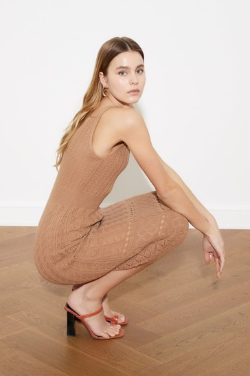 Trendyol Brown Camel Light Knit Midi Dress