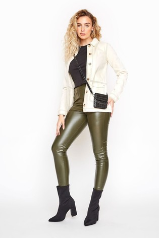 Long Tall Sally Green Leather Look Leggings