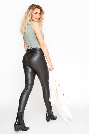 Long Tall Sally Black Ruched Leather Look Leggings