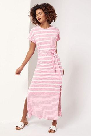 Lipsy Pink Stripe T Shirt Maxi Dress