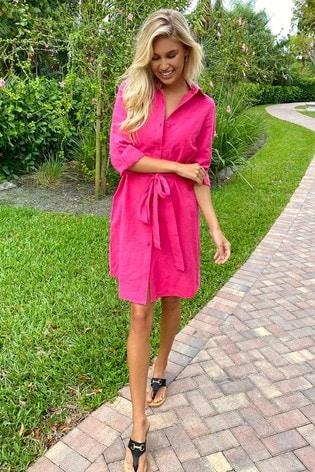 Lipsy Pink Linen Style Shirt Dress