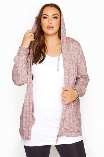 Yours Pink Space Dye Zip Through Hoodie