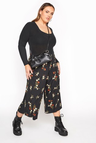 Yours Limited Black Floral Print Culottes