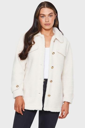 Threadbare Cream Kaila Oversized Brushed Borg Jacket