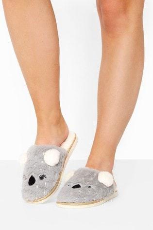 Yours Grey Vegan Faux Fur Koala Mule Slippers In Regular Fit