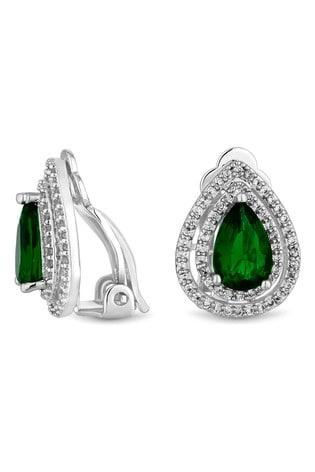 Jon Richard Green Silver Plated Green Pear Clip On Earrings