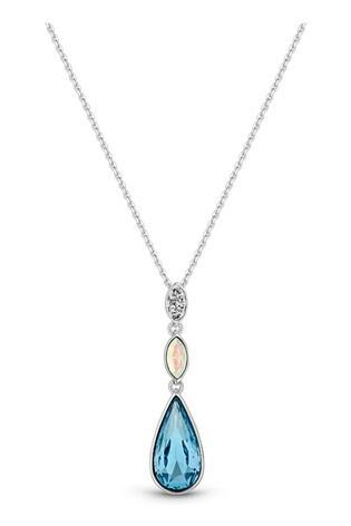 Jon Richard Blue Plated Made With Swarovski Aqua Pear Necklace