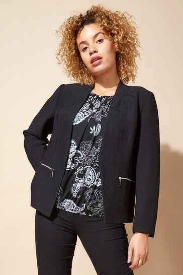 Roman Black Zip Detail Tailored Jacket