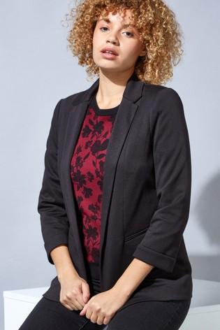 Roman Black Revere Collar 3/4 Sleeve Jacket