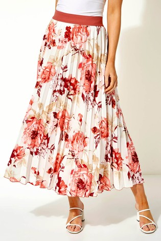 Roman Pink Pleated Maxi Skirt