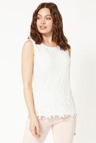 Roman Ivory Lace Front Jersey Vest Top