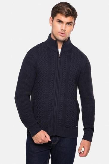 Threadbare Navy Zip Through Cardigan