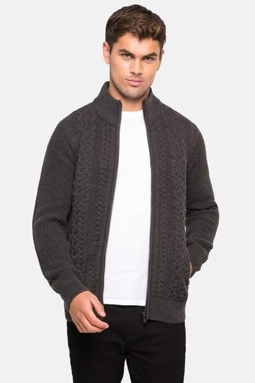 Threadbare Charcoal Zip Through Cardigan