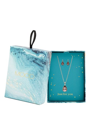 Mood Silver Plated Crystal Pear Shaped Set - Gift Boxed