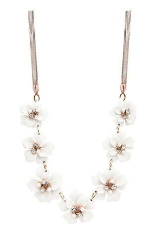Mood Rose Gold Plated Rose Gold Plated Crystal White Flower Necklace
