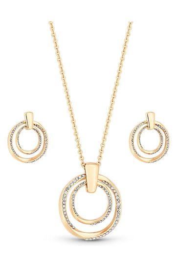 Mood Rose Gold Plated Rose Gold Plated Polished And Crystal Twist Open Set