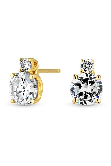 Simply Silver Gold 12ct Sterling Silver 925 Cubic Zirconia Stud Earrings