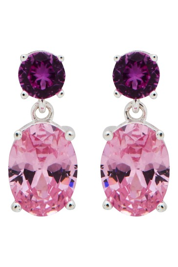 Simply Silver Pink Sterling Silver 925 Cubic Zirconia Earrings
