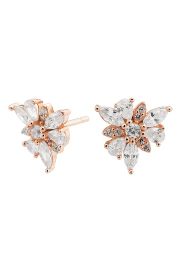 Simply Silver Pink 14ct Rose Gold Sterling Silver 925 Cubic Zirconia Mis Match Flower Earrings
