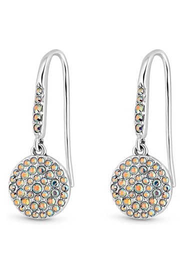 Simply Silver Multi Sterling Silver 925 Made With Swarovski Aurora Borealis Round Drop Earrings