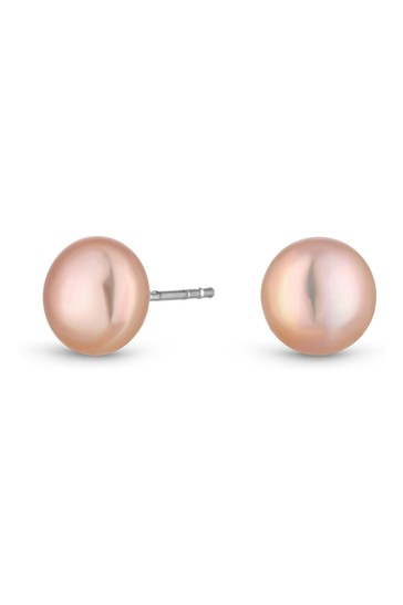 Simply Silver Pink Sterling Silver 925 Freshwater Pearl Pink Pearl Earrings