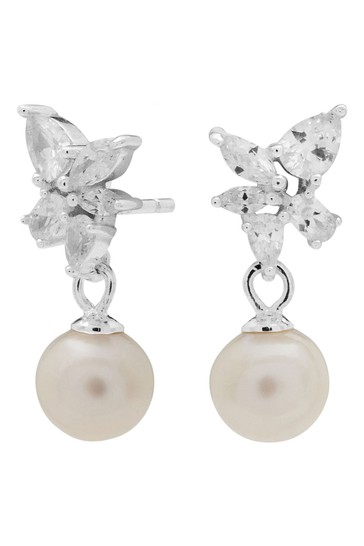 Simply Silver Silver Sterling Silver 925 Freshwater Pearl Floral Earrings