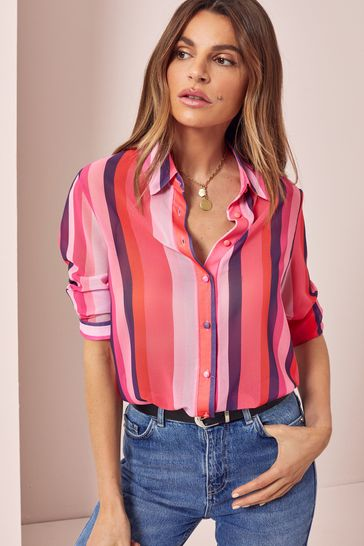 Lipsy Pink Stripe Regular Printed Shirt