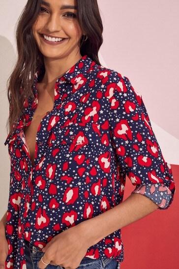 Love & Roses Blue Leopard Star Regular Patch Pocket Shirt