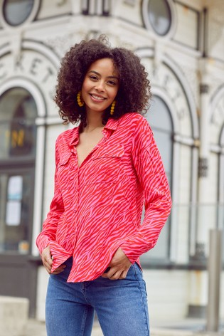 Love & Roses Pink and Red Regular Patch Pocket Shirt