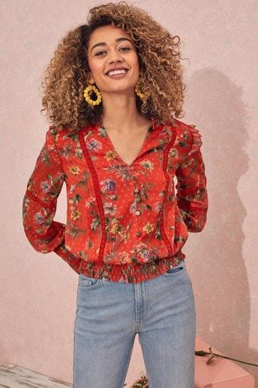 Love & Roses Red floral Regular Shirred Hem Lace Trim Blouse