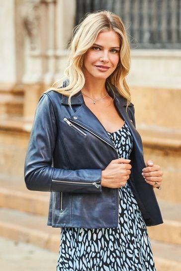 Sosandar Navy Leather Biker Jacket