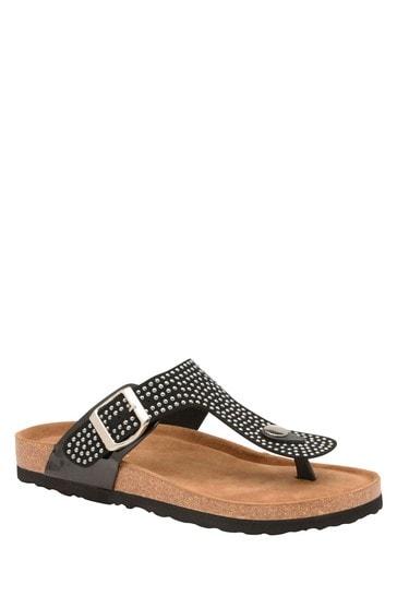 Dunlop Black Ladies' Toe Thong Sandals