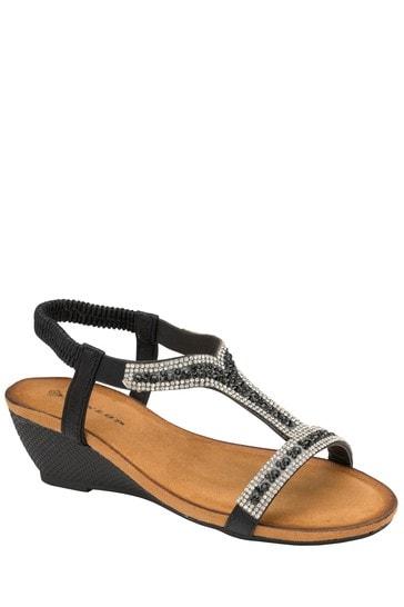Dunlop Black Ladies' Open Toe Sandals