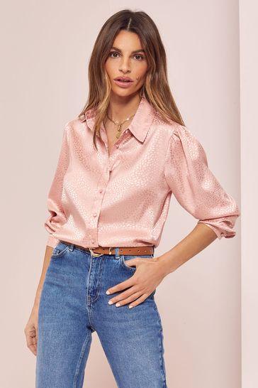 Lipsy Pink Jacquard Regular Printed Shirt