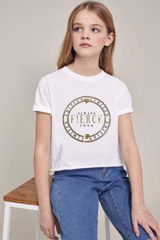Lipsy White Fierce Foil Print Tee
