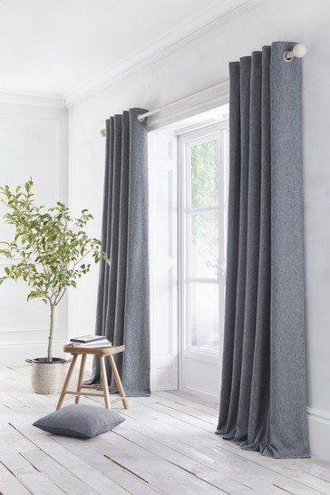 Appletree Charcoal Grey Boucle Eyelet Curtains