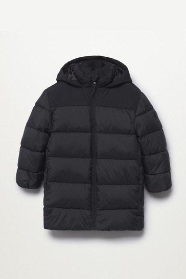 Mango Black Hood Quilted Coat
