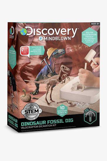 Discovery Mindblown White Toy Dinosaure Excavation Kit Skeleton 3D Puzzle - Velociraptor