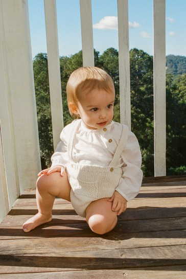 Mango Brown Recycled Cotton Knit Dungarees