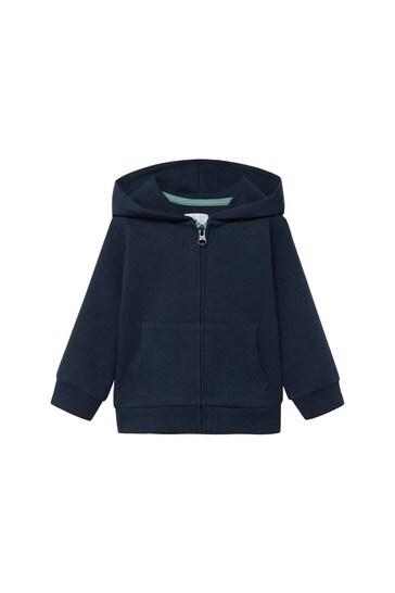 Mango Blue Zipper Cotton Sweater