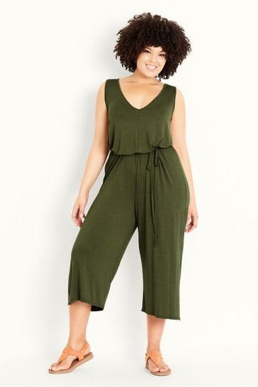Evans Green V-Neck Plain Jumpsuit