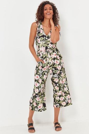 M&Co Black Floral Print Culotte Jumpsuit