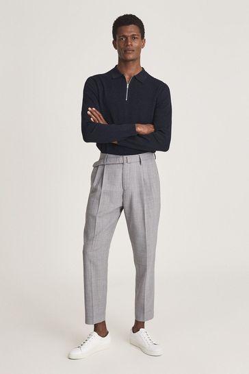 Reiss Blue Adams Textured Zip Neck Polo Shirt