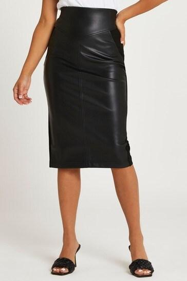 River Island Black Pu Ponte Hybrid Pencil Skirt