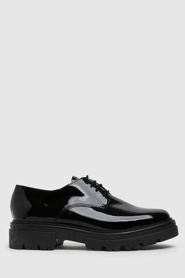 Schuh Black Libra Patent Leather Lace Up Shoes