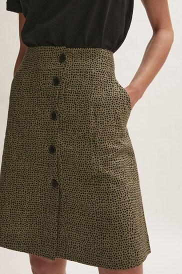 Jigsaw Green Linen Animal Polka Skirt