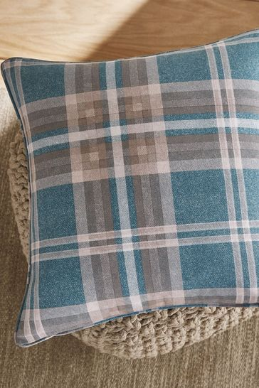 Catherine Lansfield Teal Tweed Woven Check Cushion