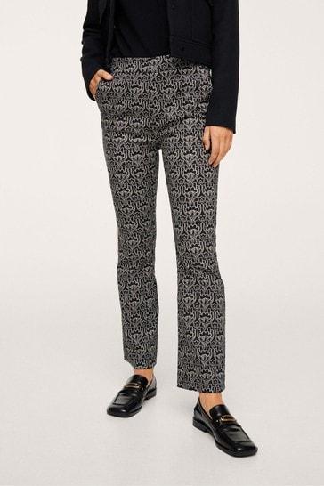 Mango Black Printed Cotton Trousers