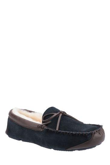 Cotswold Mens Blue Northwood Sheepskin Moccasin Slippers
