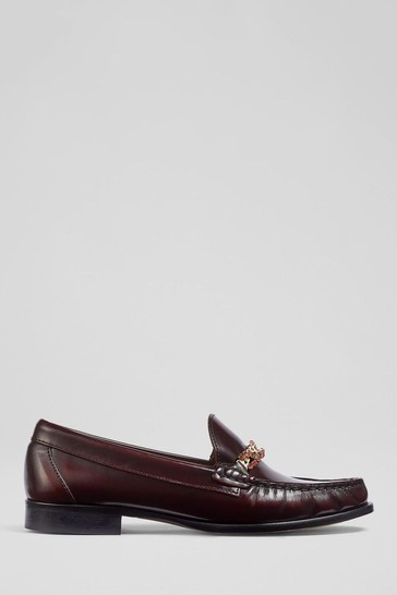 L.K.Bennett Red Ebony Loafer With Crystal Trim Shoes